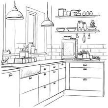 Kitchen Interior Drawing, Vect...
