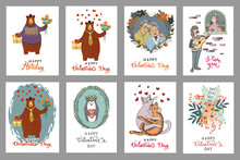 Set Of Vintage Postcards Valentine's Day