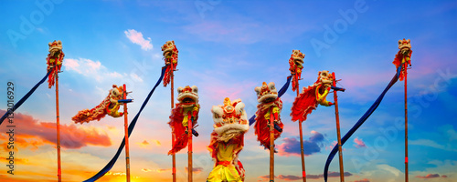 Lion Dance in Chinese New Year Celebration Tablou Canvas