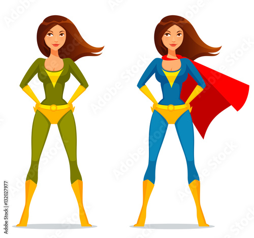 Photo  cute cartoon girl in superhero costume