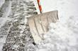 canvas print picture - Schneeschieber im Schnee