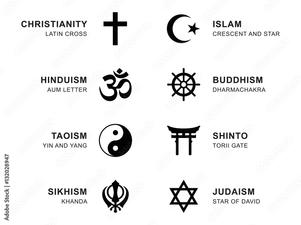 Fototapety, obrazy: World religion symbols. Eight signs of major religious groups and religions. Christianity, Islam, Hinduism, Buddhism, Taoism, Shinto, Sikhism and Judaism, with English labeling. Illustration. Vector.