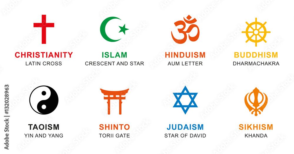 Fototapety, obrazy: World religion symbols colored. Signs of major religious groups and religions. Christianity, Islam, Hinduism, Buddhism, Taoism, Shinto, Sikhism and Judaism, with English labeling. Illustration. Vector
