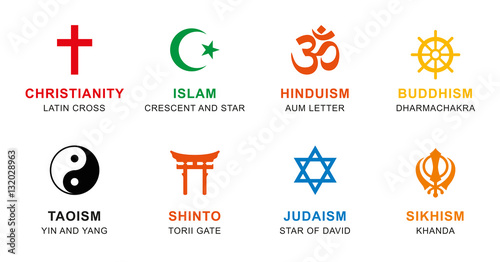 World Religion Symbols Colored Signs Of Major Religious Groups And