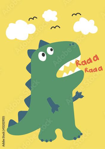 uroczy-zielony-dinozaur-na-zoltym-tle