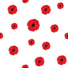 Red Poppy Seamless Pattern. Repeating Texture With Flowers. Simple Vector Floral Continuous Background In Flat Style.