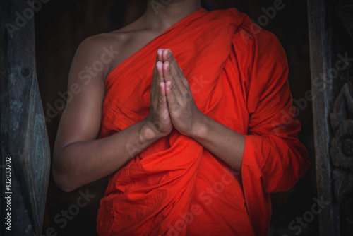 Buddhist Monk Hands Meditation Or Pray