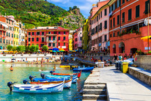 View Of The Old Vernazza Village, Cinque Terre, Italy.