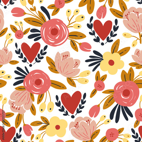 Fototapety, obrazy: Beauty seamless roses and hearts pattern