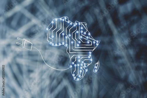 Deurstickers Afrika africa map made of electronic microchip circuits & plug