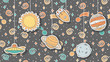 Background with hand drawn childish illustratons of space. Sun, moon, Jupiter, Saturn, spaceship and UFO. Cosmos doodles