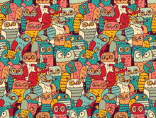 Funny Owls Birds Group Color S...