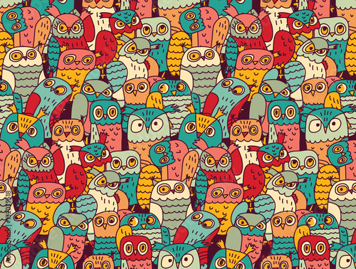 Poster Uilen cartoon Funny owls birds group color seamless pattern