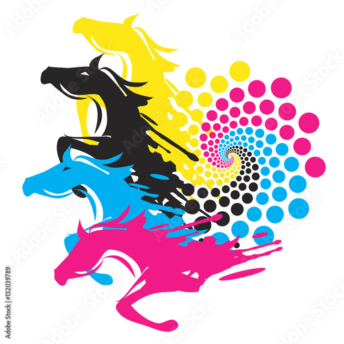 Horses With Print Color Circle. Four Running horses with the circle ...