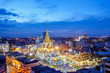 Top view cityscape Wat Trimitr in chinatown or yaowarat area in bangkok city, Bangkok, Thailand