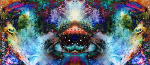 Fototapeta  psychedelic eyes on multicolor abstract backgroung with ornamental pattern