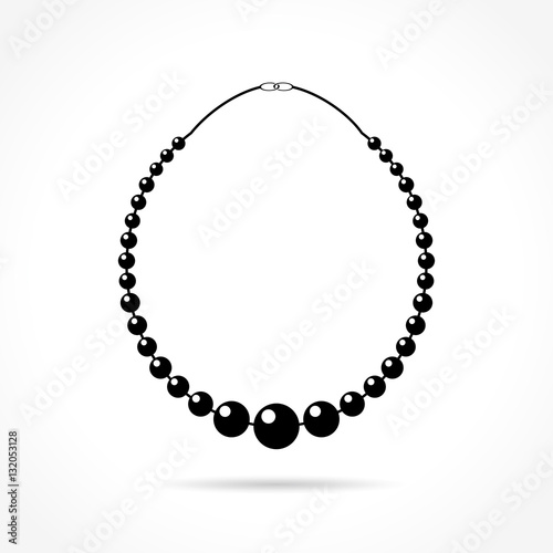 Foto pearl necklace icon on white background