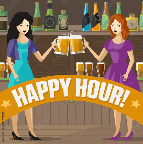 Fototapety, obrazy: two girls toasting with craft beer on irish pub poster