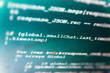 Coding script text on screen. Programming code abstract screen of software developer. Source code close-up. Monitor closeup of function source code. Server logs analysis.