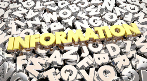 Fotografie, Obraz  Information Word Letters Research Find Answers 3d Animation