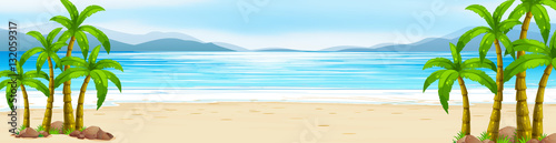 Canvas Prints Kids Scene with beach and ocean
