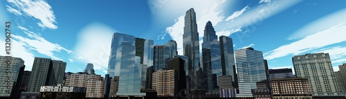 Poster Gris Panorama of a modern city. Skyscrapers and sky.