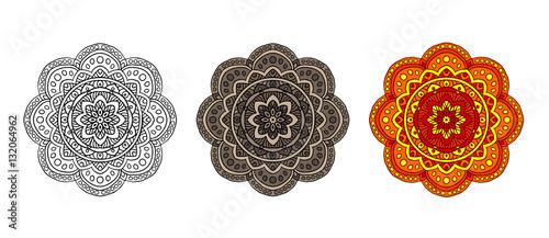 Foto auf AluDibond Boho-Stil set mandala different color