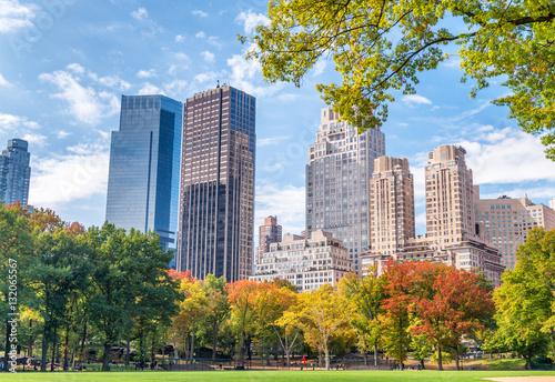 Printed kitchen splashbacks Khaki Manhattan buildings in foliage season from Central Park - New Yo