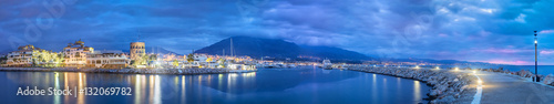 Spoed Foto op Canvas Poort Panorama of Marbella from Puerto Banus at dusk