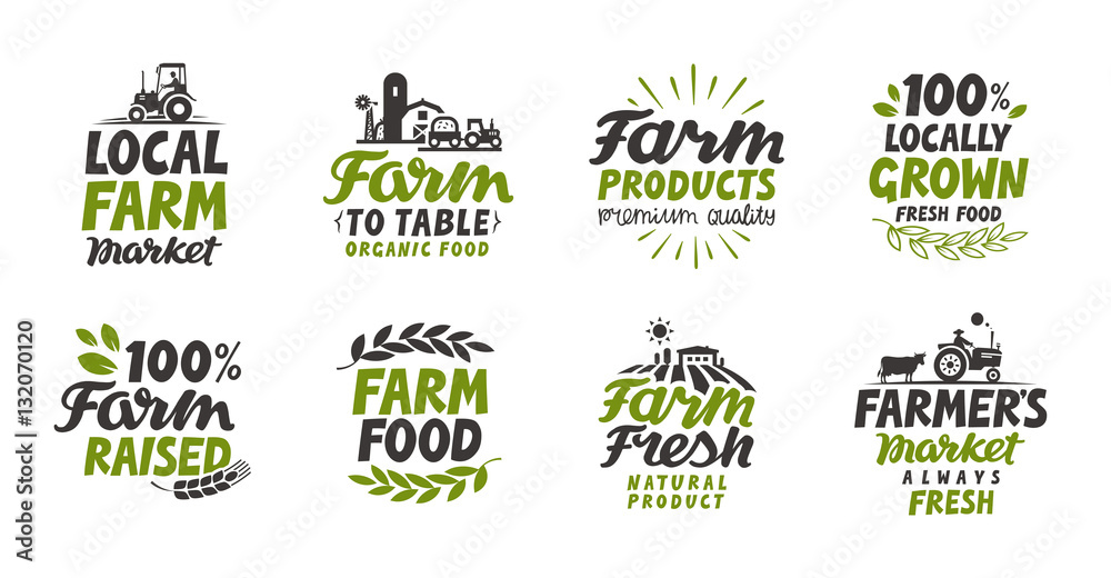 Fototapeta Farm icons set. natural, organic food. Symbol vector illustration