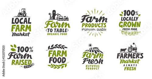 Fototapeta Farm icons set. natural, organic food. Symbol vector illustration obraz
