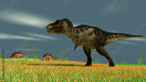 Fotomural 3d illustration of the tyrannosaurus hunting