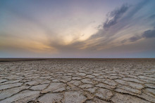 Sunset Over Salt Lake On Maranjab Desert In Iran