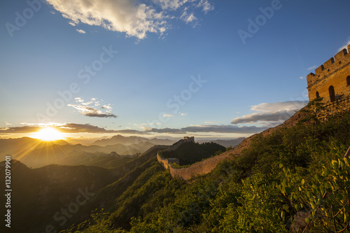 Keuken foto achterwand Chinese Muur The Great Wall the sunset