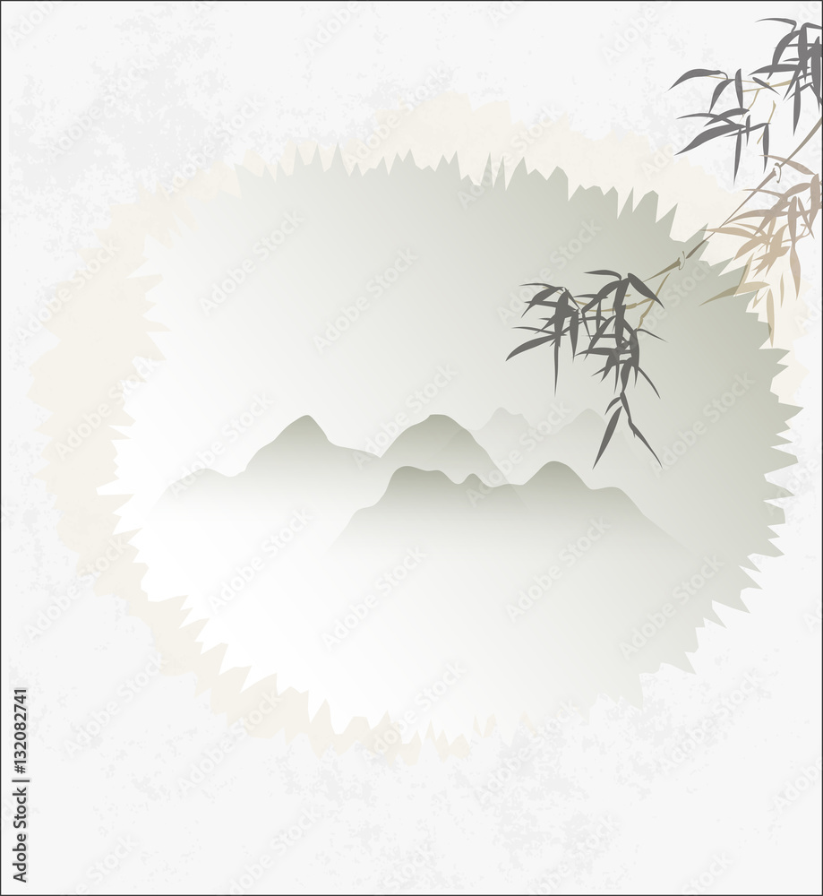 Traditional Chinese Painting, Template, Bamboo