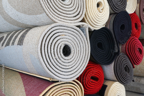 close up on stacking carpet rolls Canvas