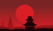 Silhouette Of Pavilion Scenery On Red Backgrounds