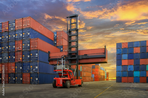 Fotografia  Industrial Container yard for Logistic Import Export business