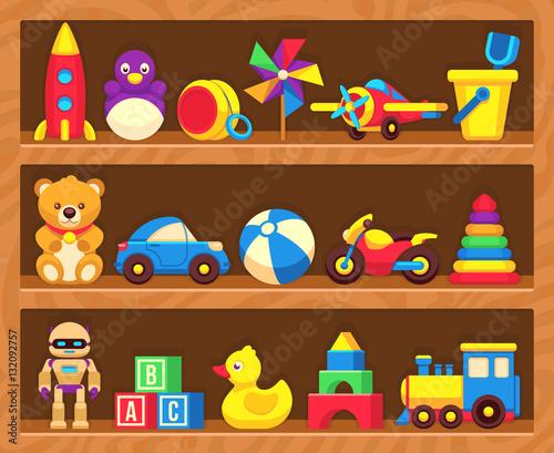 Kids toys on wood shop shelves #132092757