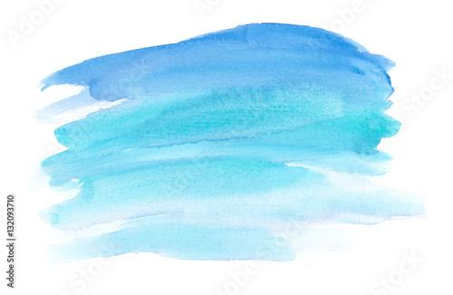 Abstrakcyjne pociągnięcia pędzlem ocean niebieski malowane w akwarela na czystym białym tle