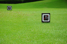 Signs At Tee Off On Golf Course