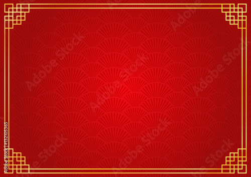 Photo  chinese new year background with golden border, abstract oriental wallpaper with