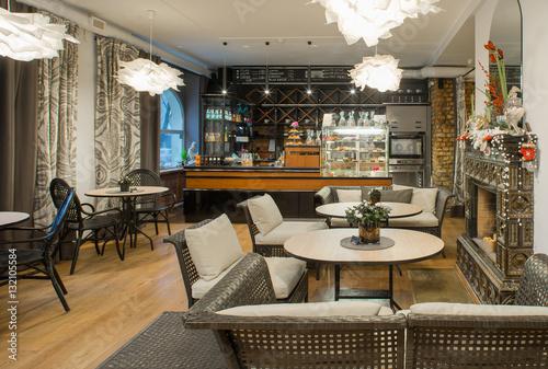 Tuinposter Restaurant Interior of caffe restaurant. Modern design.