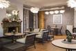 Interior of caffe restaurant. Modern design.