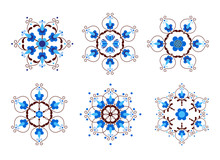 Set Of Snowflakes Inspired By Kashubian Folk Art