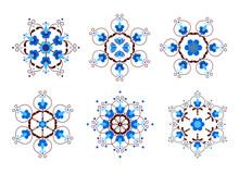 Set Of Snowflakes Inspired By Kashubian Folk Art