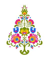 Kolorowa choinka bożonarodzeniowa ze wzorem ludowym