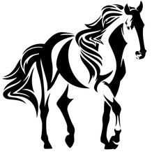 Mustang Horse Black And White Vector Design