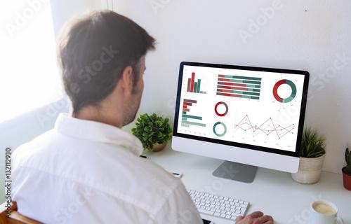 Fotografie, Obraz  businessman working with computer