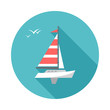Boat icon with long shadow. Flat design style. Round icon. Boat silhouette. Simple circle icon. Modern flat icon in stylish colors. Web site page and mobile app design vector element.